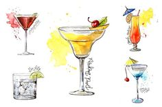 15 watercolor cocktails sketches by Lemaris on @creativemarket