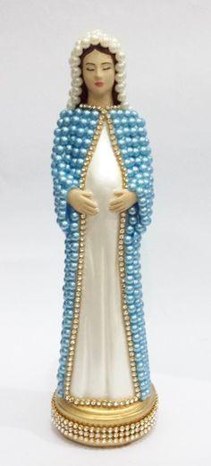 Nossa Senhora Grávida com pérolas 22 cm Azul