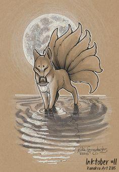 Inktober #11 2015 - Kitsune and Lantern by Kamakru