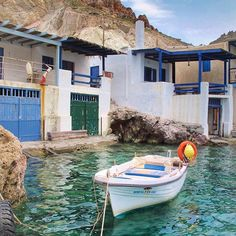 Milos island!! Firopotamos village Vacation Places, Vacation Destinations, Dream Vacations, Beautiful World, Beautiful Places, Greece Painting, Paradise City, Greece Holiday, Seaside Village
