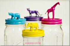 mason-jar-gift-idea-animal-topped-jar zoo animals via Mason Jar Crafts Love