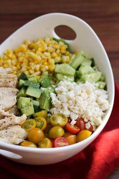 Lovely Salad with Chicken, Corn, Tomato, Avocado, Cucumber, & Feta