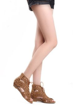 4f098d63006db8 Cut-outs Lace Open Toe Low Wedges