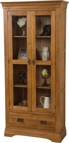 The French Chateau Oak Display Cabinet Rustic is a perfect place to put your precious belongings so all of your family can see them in style. Bookcases For Sale, Black Bookcase, Large Bookcase, Display Cabinets, Living Room Glass Cabinet, Home Decor Furniture, Furniture Design, Wood Projects, Houses