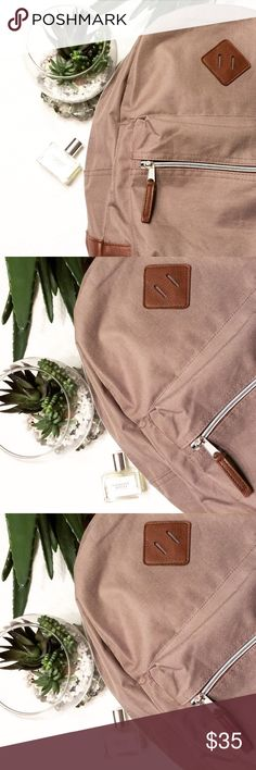 $65 CANVAS AND LEATHER BACKPACK So in fashion in beautiful neutral colors! Brand new without tags! No flaws💕accepting offers! BOUTIQUE Bags Backpacks