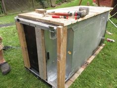 Awesome Rustic Cooler From Broken Refrigerator and Pallets : 11 Steps (with Pictures) - Instructables Wood Cooler, Diy Cooler, Outdoor Refrigerator, Refrigerator Cooler, Homemade Cooler, Outdoor Cooler, Wood Shop Projects, Backyard Projects, Backyard Landscaping