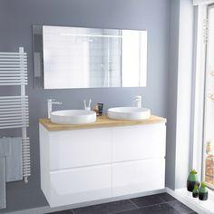 Ensemble salle de bains - Meuble IPOMA Blanc - Plan de toilette Hosta - Double vasque - Miroir lumineux - L120 x H70 x P50 cm