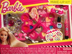 BARBIE,MAKE-UP KIT & COSMETIC JEWELRY,W/ HEART SHAPED BARBIE COMPACT,KIDS 5+,NEW #BARBIE