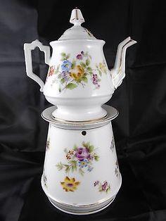 """( 08 ) Tisaniere Veilleuse  """" Floral """" En Porcelaine De Paris Ou Limoges • EUR 99,00"""
