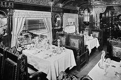 Inside of dining car - World's Fair Chicago 1893 (Pullman Palace Car Co/Chicago)