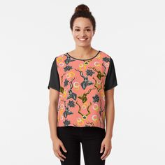 'Climbing Leaves In Living Coral' T-Shirt by taiche Chiffon Shirt, Chiffon Tops, Whale Pattern, Pattern Art, Surface Pattern, Flower Patterns, Fitness Models, Classic T Shirts, Just For You