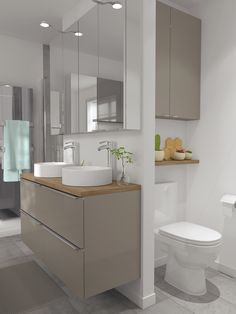 B&Q's Imandra bathroom range is a modular solution that allows you to mix and match to suit your needs. This taupe gloss vanity unit is not only modern and stylish, it is easy to keep clean too. To help you design your own dream bathroom our online Bathroom Planner has all the tools!
