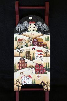 Hand Painted Folk Art Sled Saltbox Village by RavensBendFolkArt