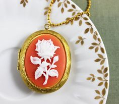 Coral Pink Flower Locket Necklace by missbeawants on Etsy, $41.00