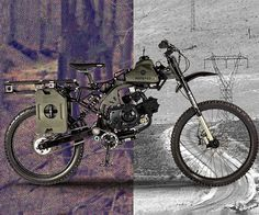 Outrun disaster and avoid certain death riding through the streets on the apocalypse survival motorized bike. This trusty bike comes outfitted with a universal rack for bolting on nearly anything you can imagine and boasts a gas tank capable of taking you Survival Prepping, Survival Gear, Survival Skills, Survival Quotes, Emergency Preparedness, Metal Gear, Zombie Apocalypse Survival, Zombie Gear, Motorised Bike