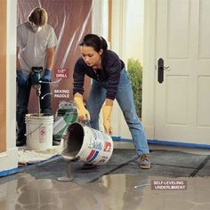 How to Level Uneven Concrete Floors for Maximum Flatness Concrete Patio, Concrete Floors, Basement Flooring, Building A House, Home Improvement, Woodworking, Kit, Tools, Home Decor