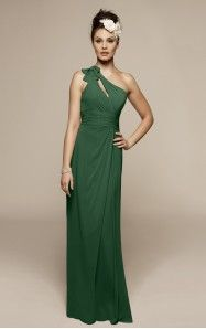 A-line Floor-length One Shoulder Dark Green Dress