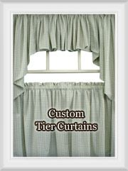 Custom Tier Curtains and Valance Window Top Treatments for Kitchen/Bathroom