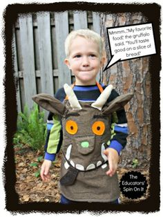 How to Make a Gruffalo Dress Up Apron for Creative Storytelling. My kids love the gruffalo! Book Costumes, Book Character Costumes, World Book Day Costumes, Book Week Costume, Halloween Costumes, Costume Ideas, Fancy Costumes, Easy Halloween, Halloween Party