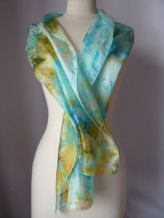 Silk scarf. Long silk scarf. Hand Dyed Habotai silk. by woolNsilk, £16.50