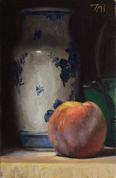 daily painting titled Still Life with Delft Vase, Peach and Japanese Teapot - click for enlargement