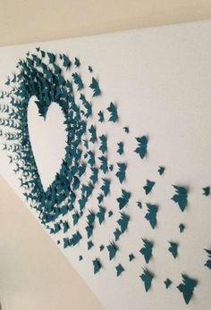 Adornos de papel para paredes: Fotos de ideas - Corazón con trozos azules
