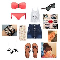 beach time by irissalmeron on Polyvore featuring polyvore, fashion, style, Quiz, Charlotte Russe, MANGO and Henri Bendel
