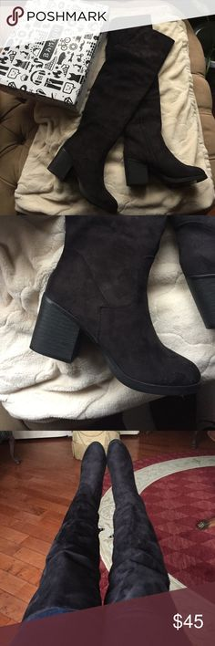 NEW black suede thigh high heels w/ FREE colourpop NEW with tags over the knee thigh high chunky heels! Bought these in size 7 with a 3 inch heel for an event I have coming up but they didn't meet the criteria so I'm hoping to sell in order to buy a new pair 😓 Absolutely love these boots and they are not sold anymore so I wanted to sell them to my Poshers before returning for credit ! I'm also including a free Colourpop matte lip in the color Tulle as a free gift that has also never been…