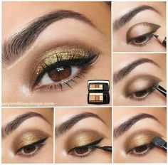 Simple golden eye makeup for brown eyes