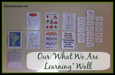 What we are learning wall. An easy way to remember to work on/review certain items in your homeschool.