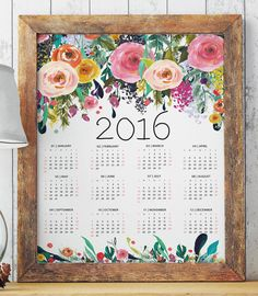 Floral printable calendar 2016 room decor by TwoBrushesDesigns #calendars