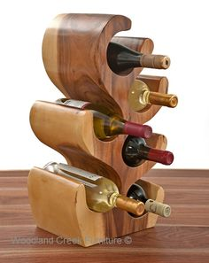 Unique Carved Wood Wine Bottle Holder