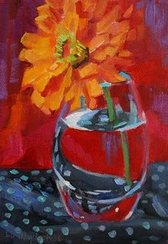 Daily Paintings By Elizabeth Blaylock, American Impressionist: OIL PAINTING OF ORANGE ZINNIA SOLO
