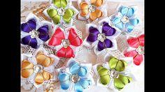 Нарядные резинки бантики из лент канзаши МК / hair clips ribbon kanzashi...