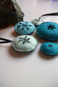 ornaments snowflake felt embroidery
