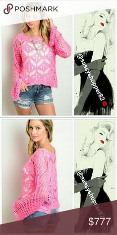 """💖💋JUST ARRIVED💖💋Pink crochet sweater Brand new with tags  Gorgeous pink crochet sweater with extra long flared sleeves. Extra long sleeves are on trend for sure! Pair over a tank top and with jeans/shorts for a sassy look!!! I am in love with the color and style!!  Small Bust:18.5"""" Length:20.5""""Sleeves: 24.5"""". Medium Bust:19.5"""" ,Length: 21"""", Sleeves: 25"""". 65%acrylic 35%polyester   💖Shop with confidence💖💖 🎉🎊Suggested User🎊🎉 📮💌Same day shipping📮💌 5🌟🌟🌟🌟🌟 star rated closet…"""
