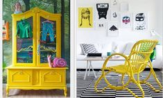 The perfect pop of yellow Peacock Color Scheme, Color Schemes, Mustard Yellow, Chair, Furniture, Nova, Design, Home Decor, Vibrant Colors