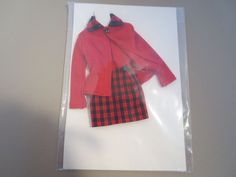 """Custom Outfit For 16"""" Dolls. Fits most 16"""" dolls. Includes red jacket, sleeveless top and plaid skirt. 