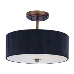 Design Classics Lighting Bronze Semi-Flush Ceiling Light with Drum Shade - 14-Inches Wide | DCL 6543-604 SH7561 KIT | Destination Lighting