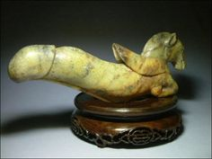 Chinese Jade Flying Horse Dildo, 18th century - [Although it is a beautiful carving, one has to ask where does Art and History end and pornography begin? It's age gives it history, but I have to wonder exactly how anyone's prejudices may affect their definition of Art.]