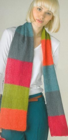 Knitted Scarves & Shrugs Book | Striped scarf | Black Sheep Wools