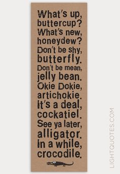 Items similar to Children's Room Art: See Ya Later Alligator, In A While Crocodile, Canvas Wall Art Panel for Nursery, 10 x in Brown, Blue or Green on Etsy - Trend Destructive Quotes 2019 See You Later Alligator, Jokes For Kids, All Family, Statements, Quotable Quotes, Cute Quotes, Funny Jokes, Funny Signs, Kids And Parenting