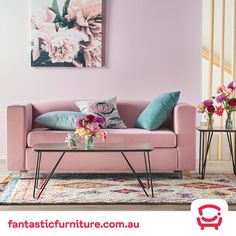 Shop now, only at Fantastic Furniture! Color Stripes, Stripes Design, Bold Colors, Colours, 5 Seater Sofa, Pink Sofa, Blush Flowers, Perfect Pink, Suede Fabric
