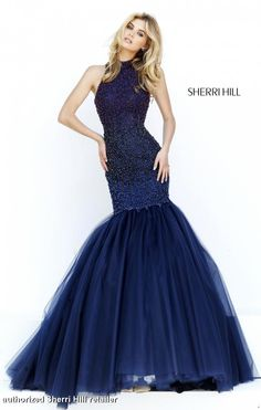 32345 Sherri Hill. Sherri Hill prom dress. prom dress 2016. prom 2016. get prom ready. accessorize your prom dress. long navy blue prom dress. mermaid style prom dress. Sherri Hill designs.