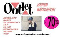 ¡ SUPER DESCUENTO! DESDE AHORA HASTA EL DOMINGO A LAS 24:00H TODO NUESTRO OUTLET AL 70% ENTRA EN NUESTRA PAGINA,NO PIERDAS LA OPORTUNIDAD!!  <3 http://www.fondodearmario.net/tienda/OFERTAS-Y-OUTLET