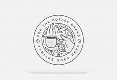 Design Premium Natural Coffee With Line Art Style Badge Logo Café, Tea Logo, Coffee Shop Logo, Coffee Shop Design, Coffee Branding, Brand Identity Design, Branding Design, Cafe Logos, Logo Minimalista