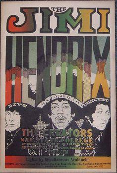 The Jimi Hendrix Experience - The Creators Concert Poster Sacramento State College Sacramento Tour Posters, Band Posters, Music Posters, Hippie Posters, Vintage Concert Posters, Vintage Posters, Affiche Jimi Hendrix, Old Poster, Rock N Roll