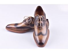 TucciPolo Goodyear Welted Wingtip Oxfords Italian Leather Handmade Mens Luxury Shoe