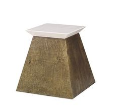 Penn Side Table  Contemporary, Industrial, MidCentury  Modern, Transitional, Metal, Lacquer, Parchment, Side  End Table by Julian Chichester