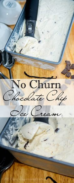 No Churn Chocolate Chip Ice Cream | Carrie's Experimental Kitchen Make deliciously creamy ice cream at home without an ice cream maker. #icecream #vegetarian #glutenfree
